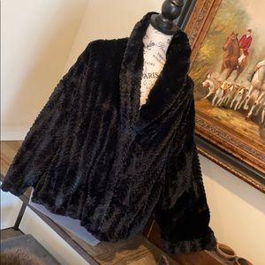 Adrienne Landau Faux Fur Coat 3/4 Sleeve Med NWT